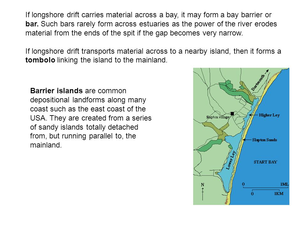 If longshore drift carries material across a bay, it may form a bay barrier or bar. Such bars rarely form across estuaries as the power of the river erodes material from the ends of the spit if the gap becomes very narrow.