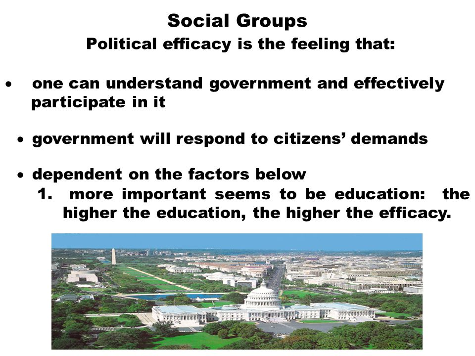 Social Groups Political efficacy is the feeling that: