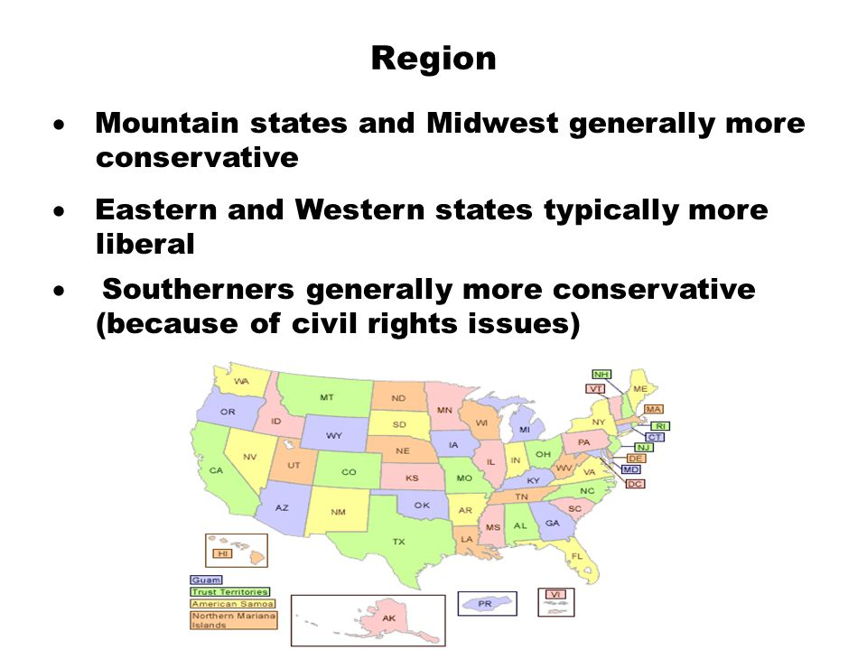 Region · Mountain states and Midwest generally more conservative