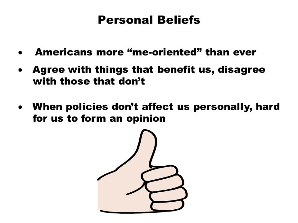 Personal Beliefs · Americans more me-oriented than ever