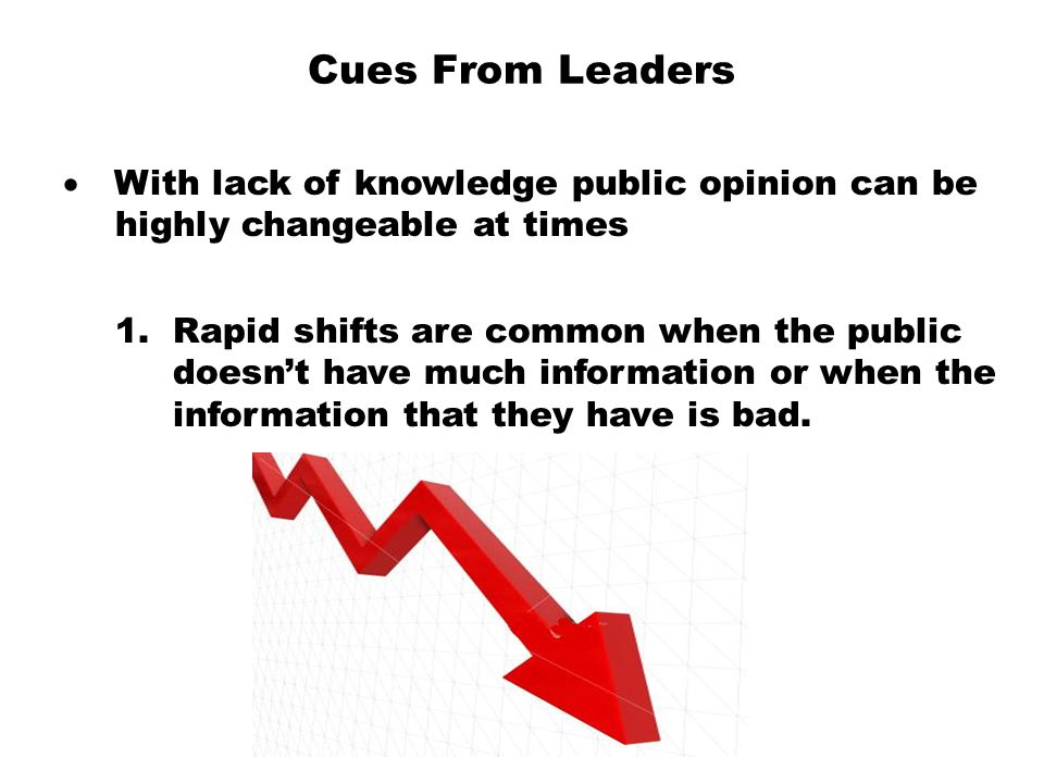 Cues From Leaders · With lack of knowledge public opinion can be highly changeable at times.