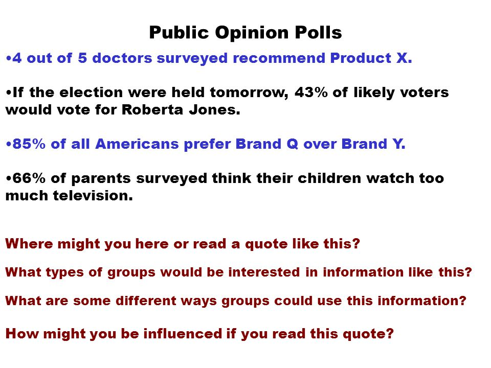 Public Opinion Polls 4 out of 5 doctors surveyed recommend Product X.
