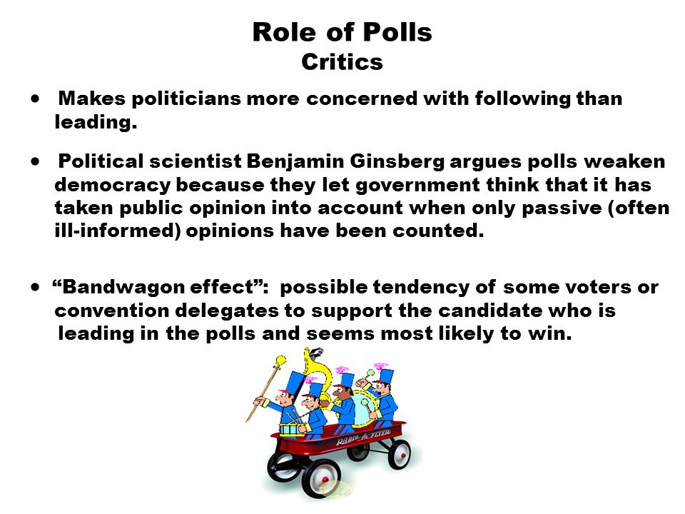 Role of Polls Critics · Makes politicians more concerned with following than. leading.