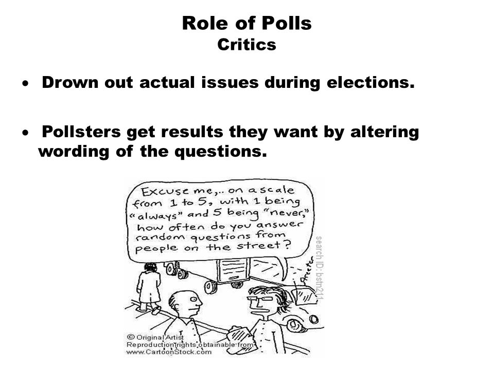 Role of Polls Critics · Drown out actual issues during elections.