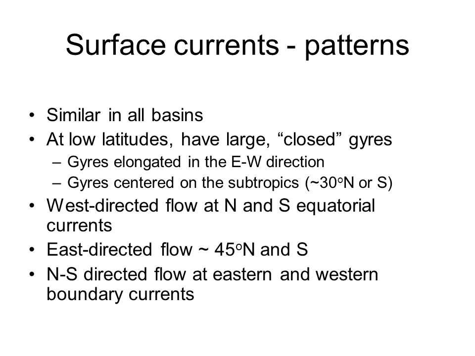 Surface currents - patterns