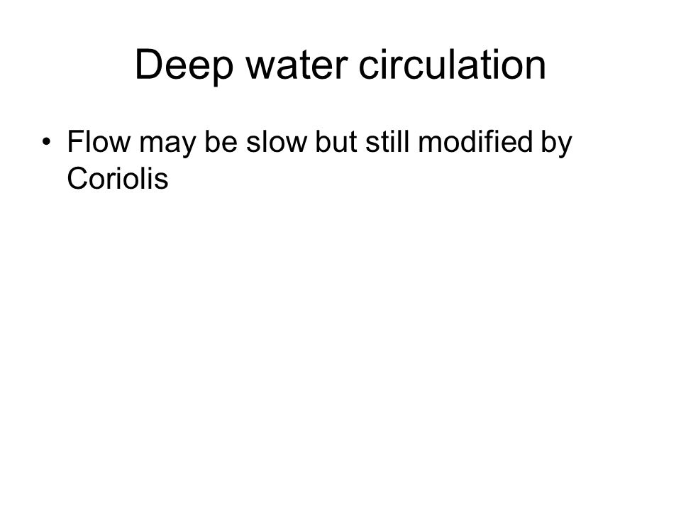Deep water circulation