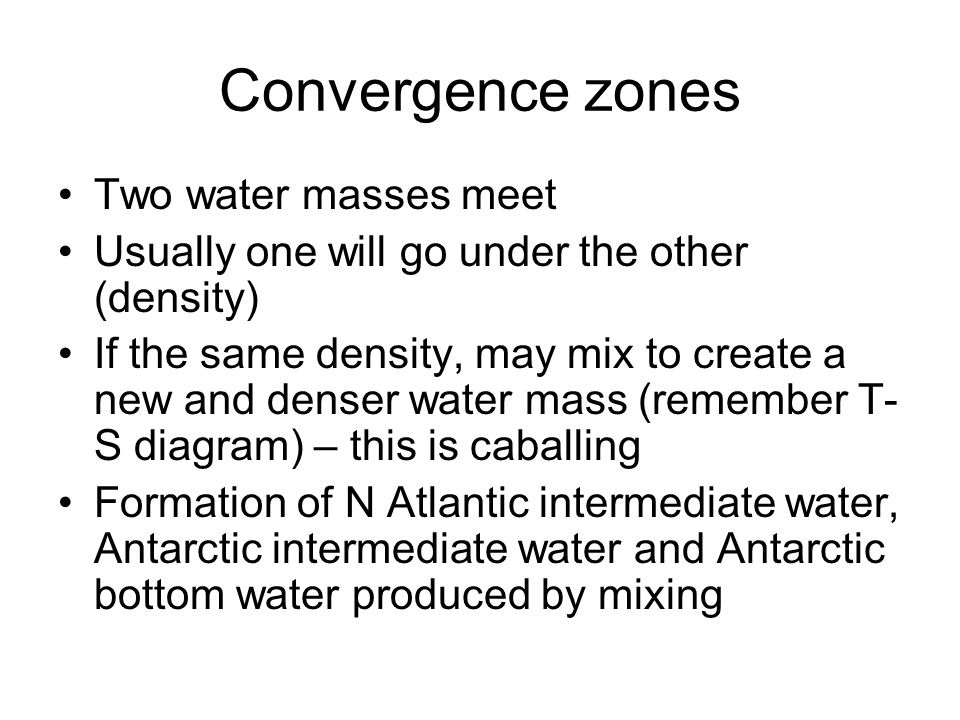 Convergence zones Two water masses meet