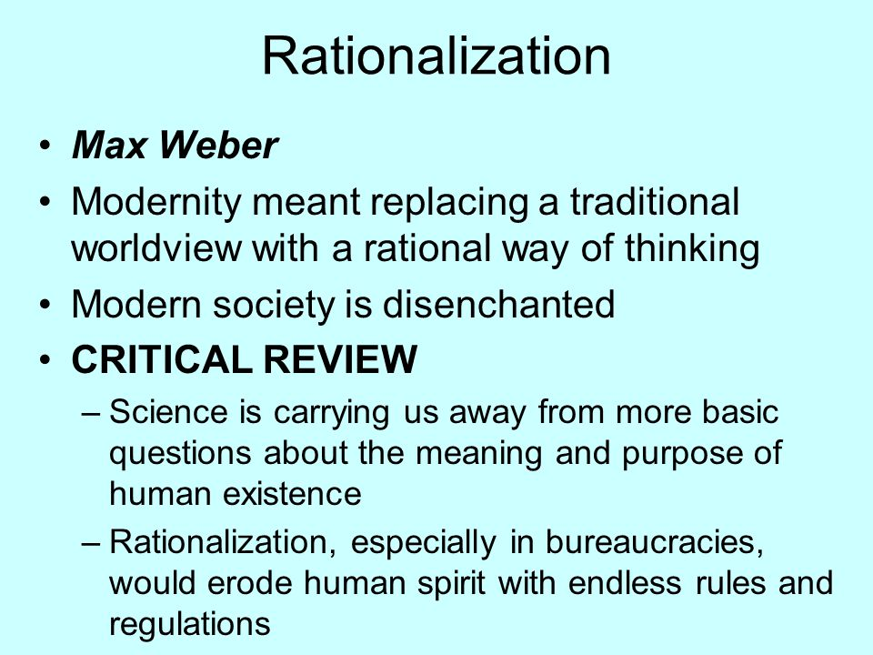 Rationalization Max Weber