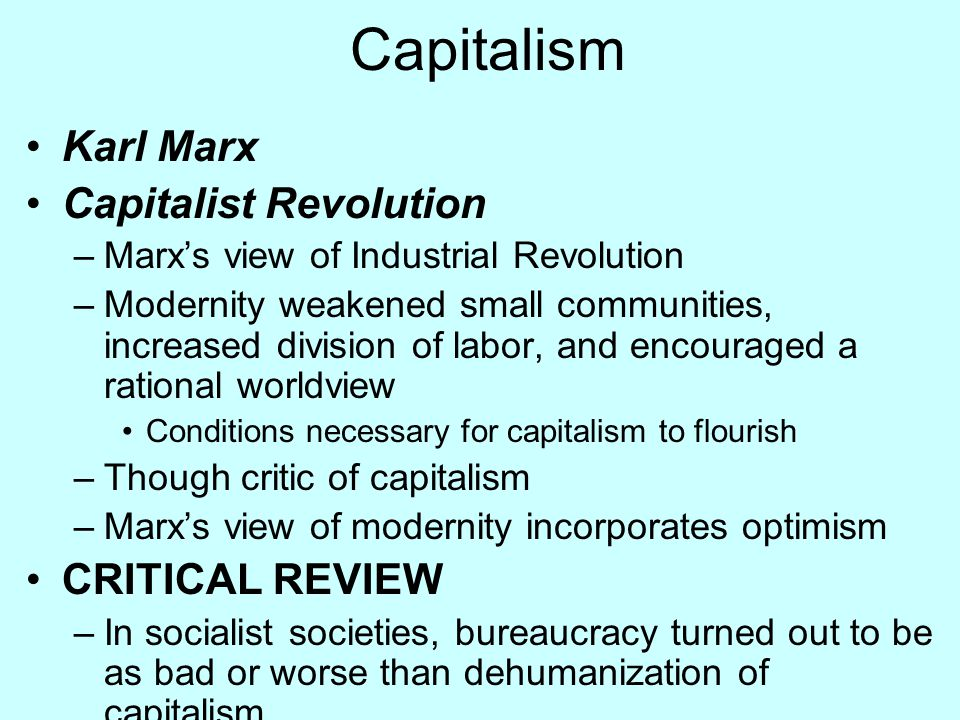 Capitalism Karl Marx Capitalist Revolution CRITICAL REVIEW