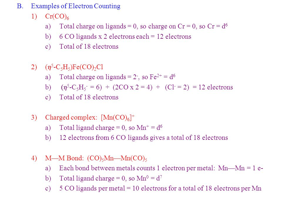 Examples of Electron Counting