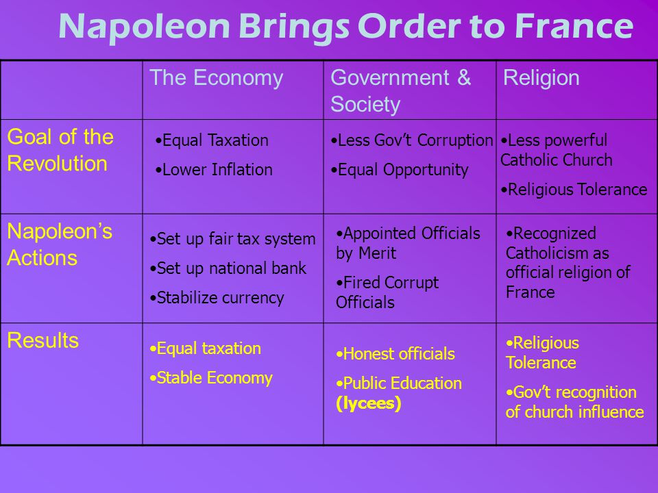 Napoleon Brings Order to France