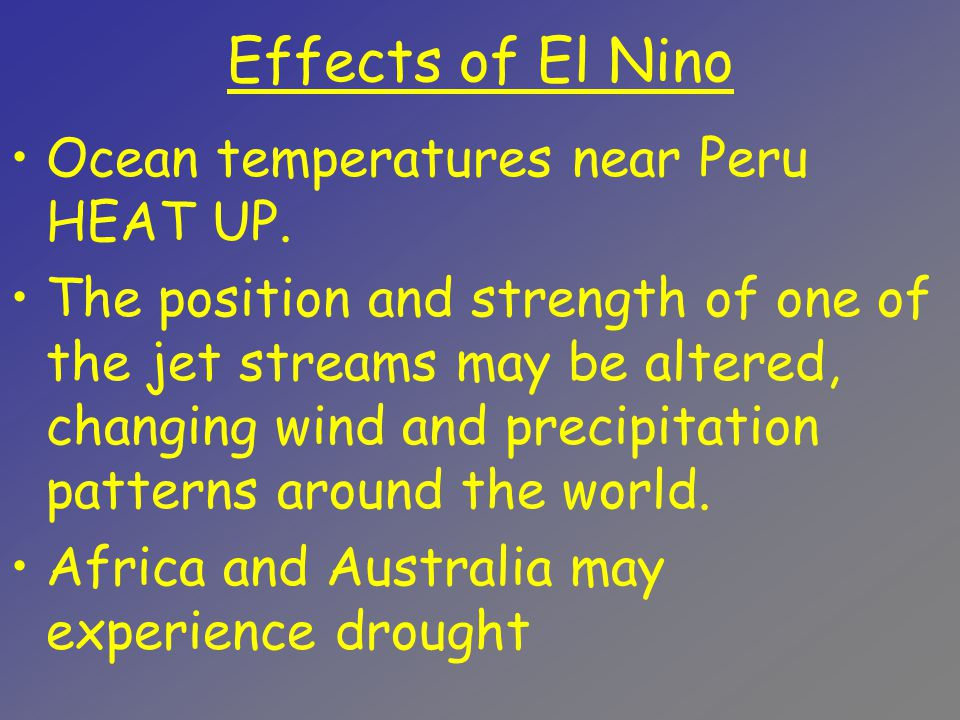 Effects of El Nino Ocean temperatures near Peru HEAT UP.