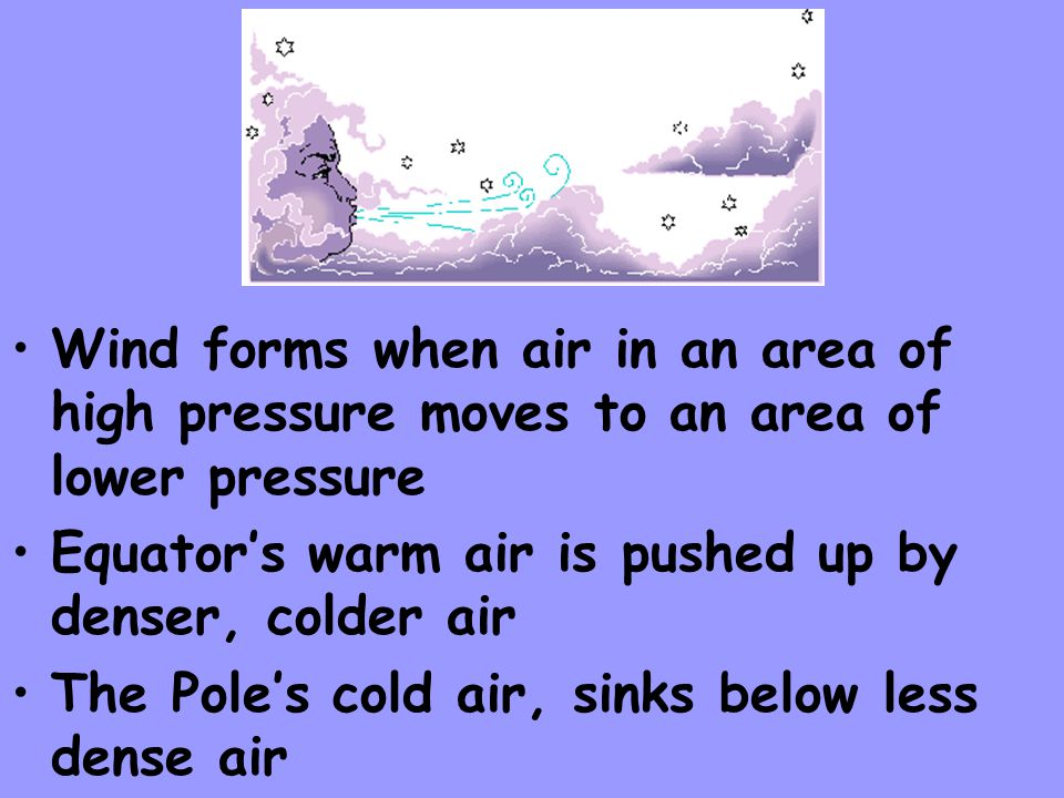 Wind forms when air in an area of high pressure moves to an area of lower pressure
