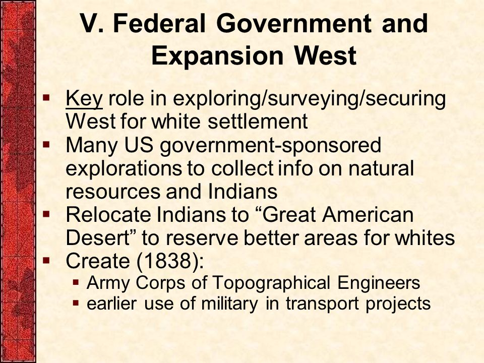 V. Federal Government and Expansion West