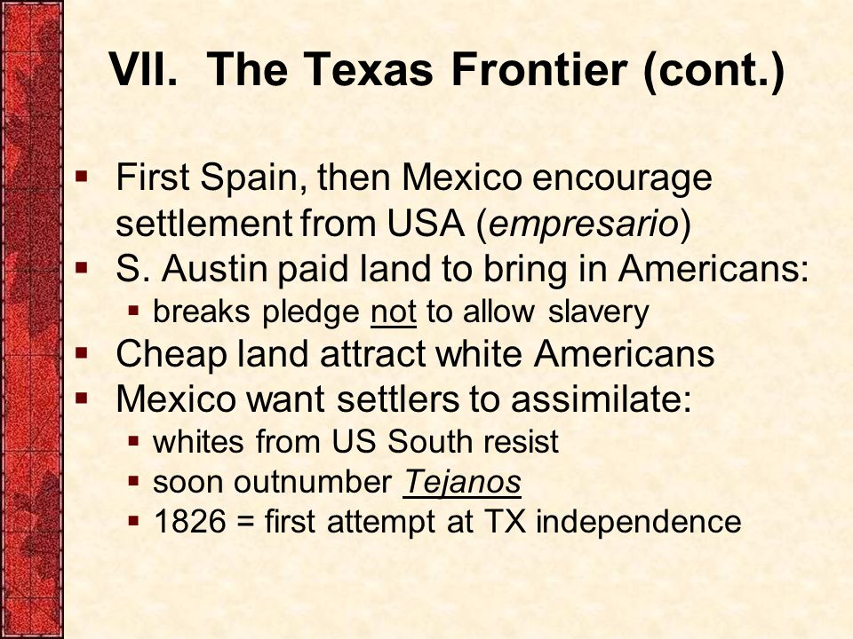 VII. The Texas Frontier (cont.)