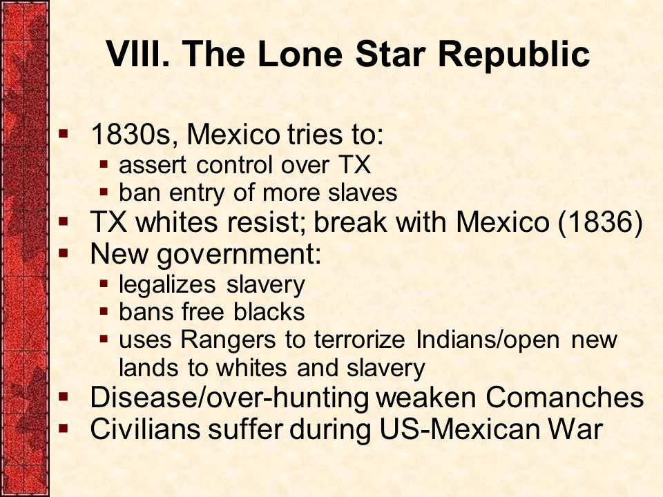 VIII. The Lone Star Republic