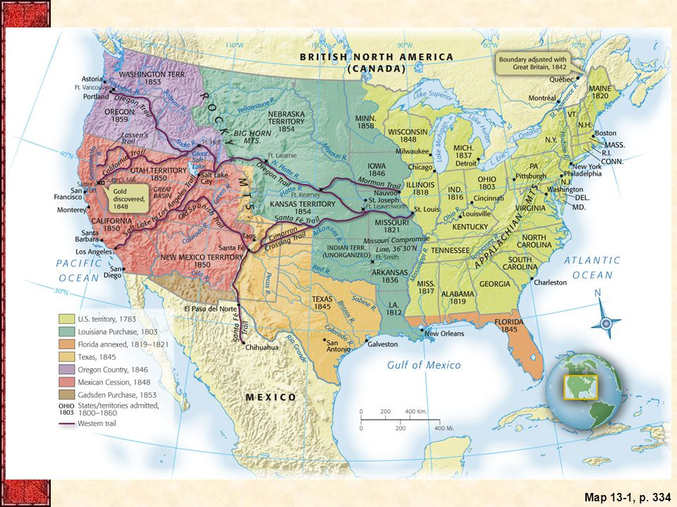 Map 13.1: Westward Expansion, 1800–1860.