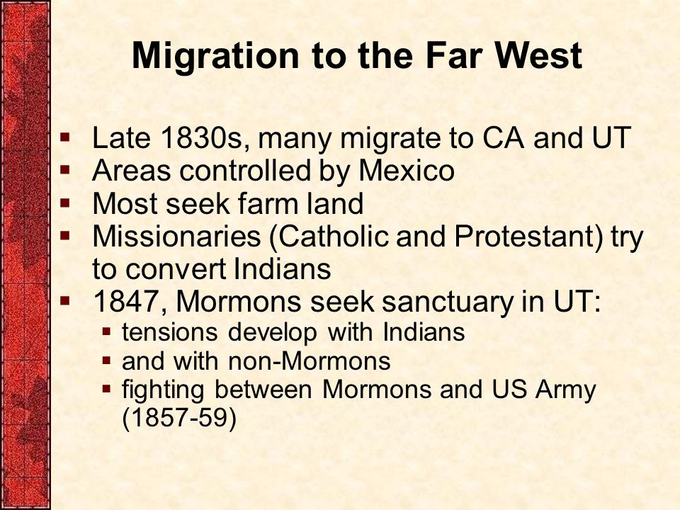 Migration to the Far West