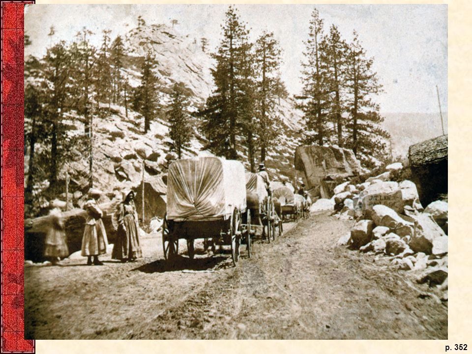 This rare stereocard shows an emigrant train, including two women and possibly a child, dwarfed by the natural landscape in Strawberry Valley, Califonia, in the 1860s.