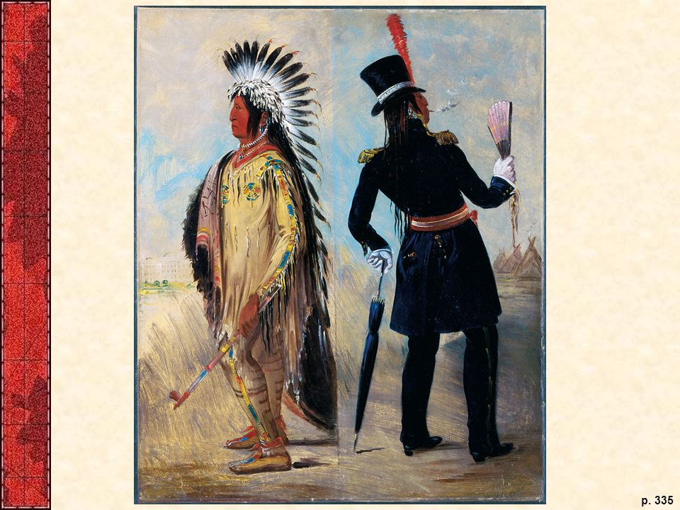 In one of his most famous portraits, George Catlin painted Wi-Jun-Jon, an Assiniboine Indian, both before and after he had mingled with white men. In the before stance, the Indian is a dignified, peace-pipe-bearing warrior; in the after portrait, the corrupted Indian has abandoned dignity for vanity and his peace pipe for a cigar.