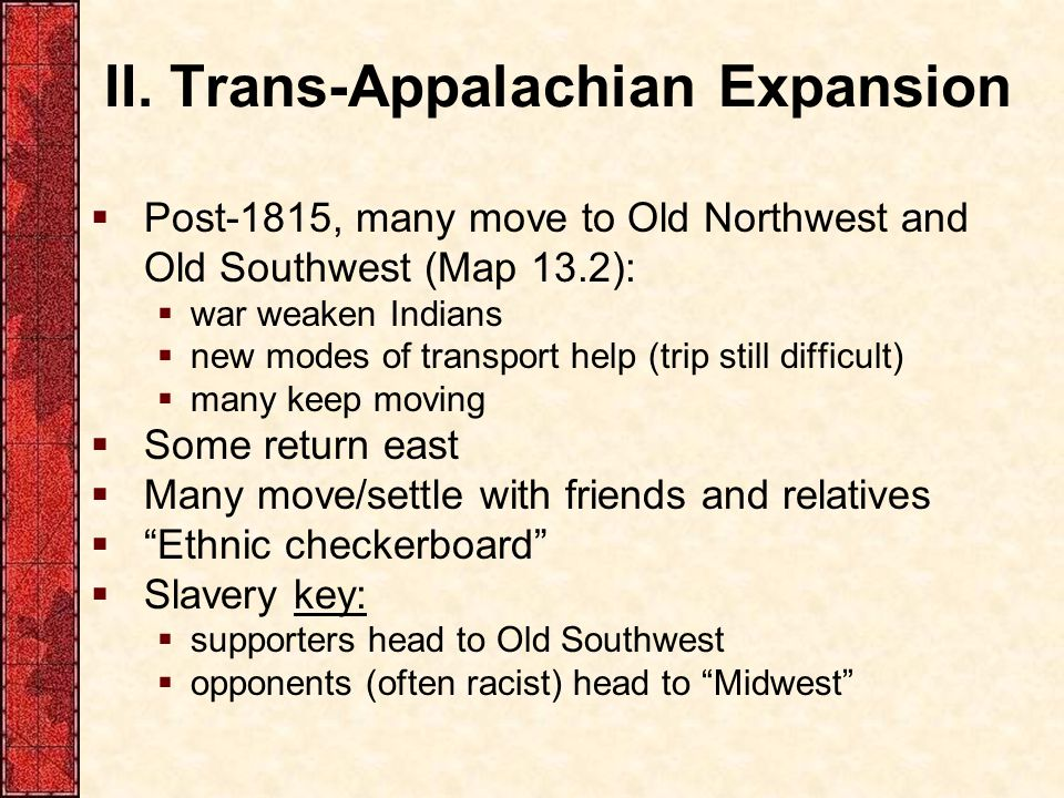 II. Trans-Appalachian Expansion