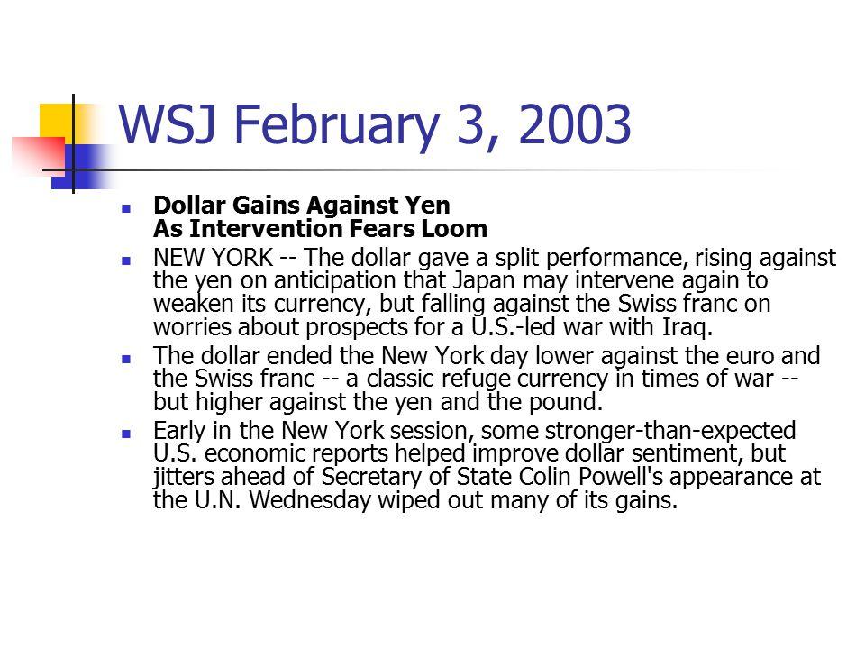WSJ February 3, 2003 Dollar Gains Against Yen As Intervention Fears Loom.