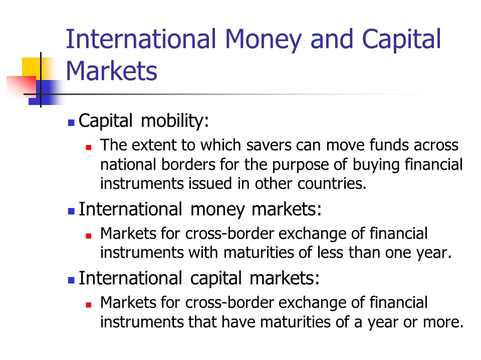 International Money and Capital Markets