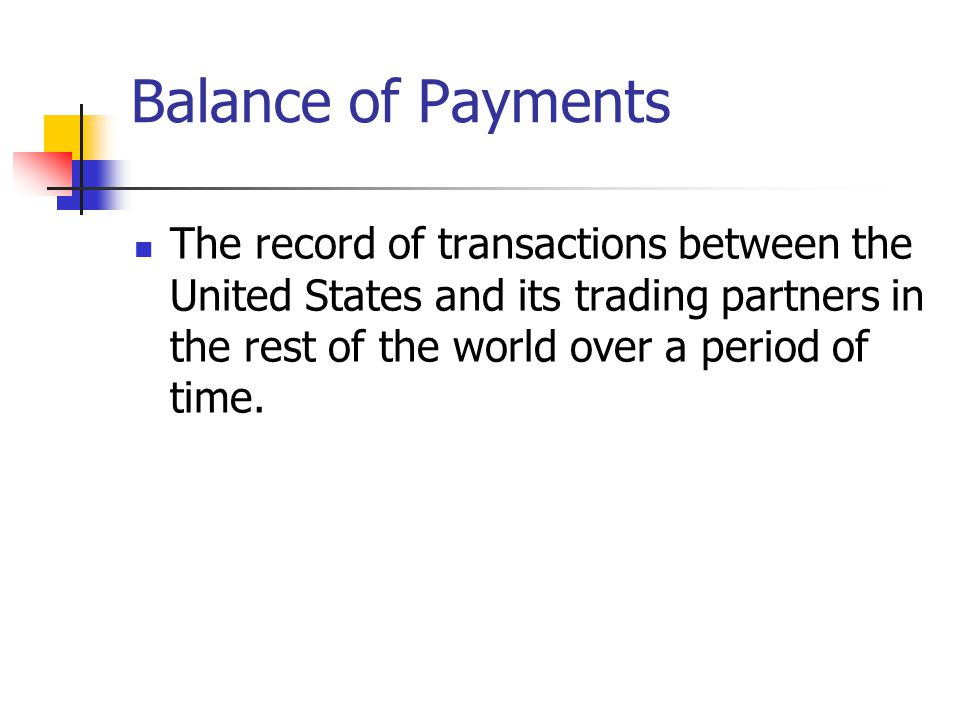 Balance of Payments The record of transactions between the United States and its trading partners in the rest of the world over a period of time.