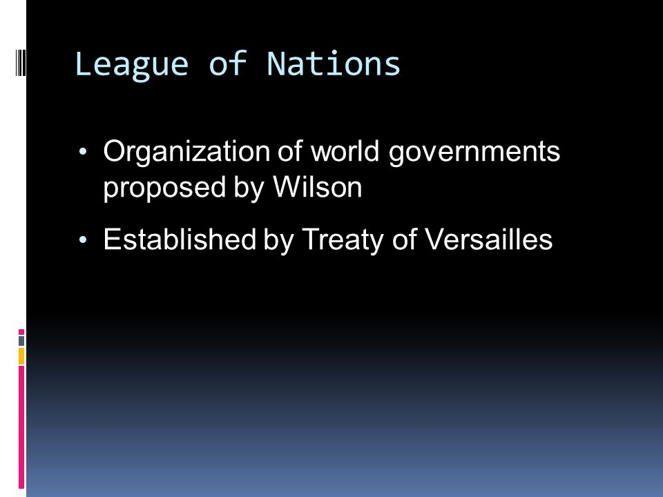 League of Nations Organization of world governments proposed by Wilson