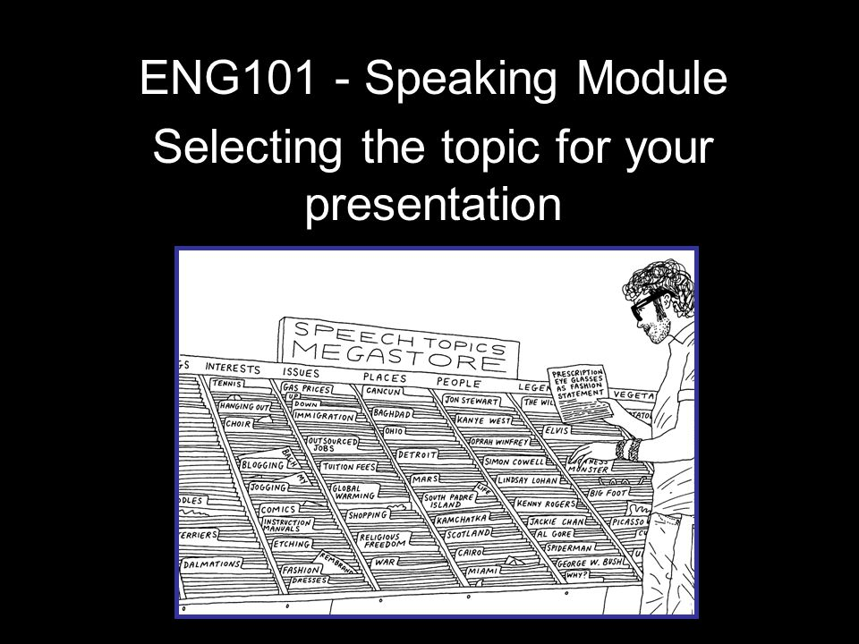 ENG101 - Speaking Module Selecting the topic for your presentation