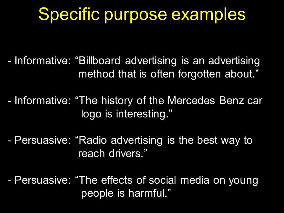 Specific purpose examples