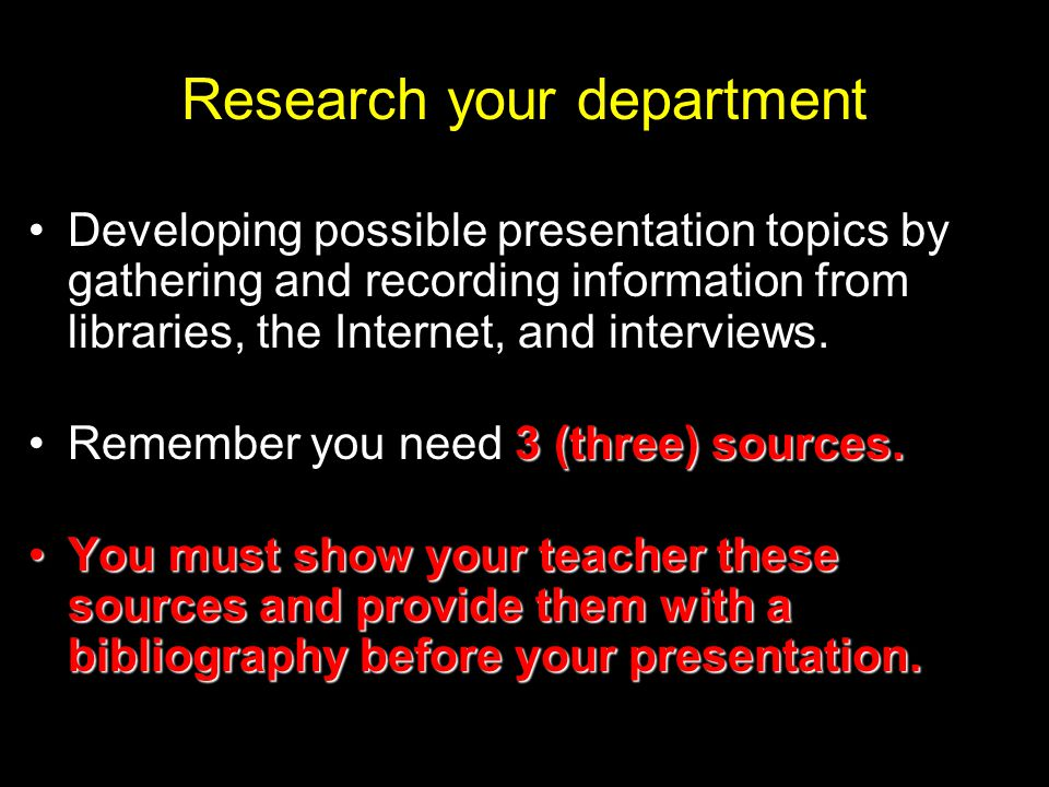 Research your department