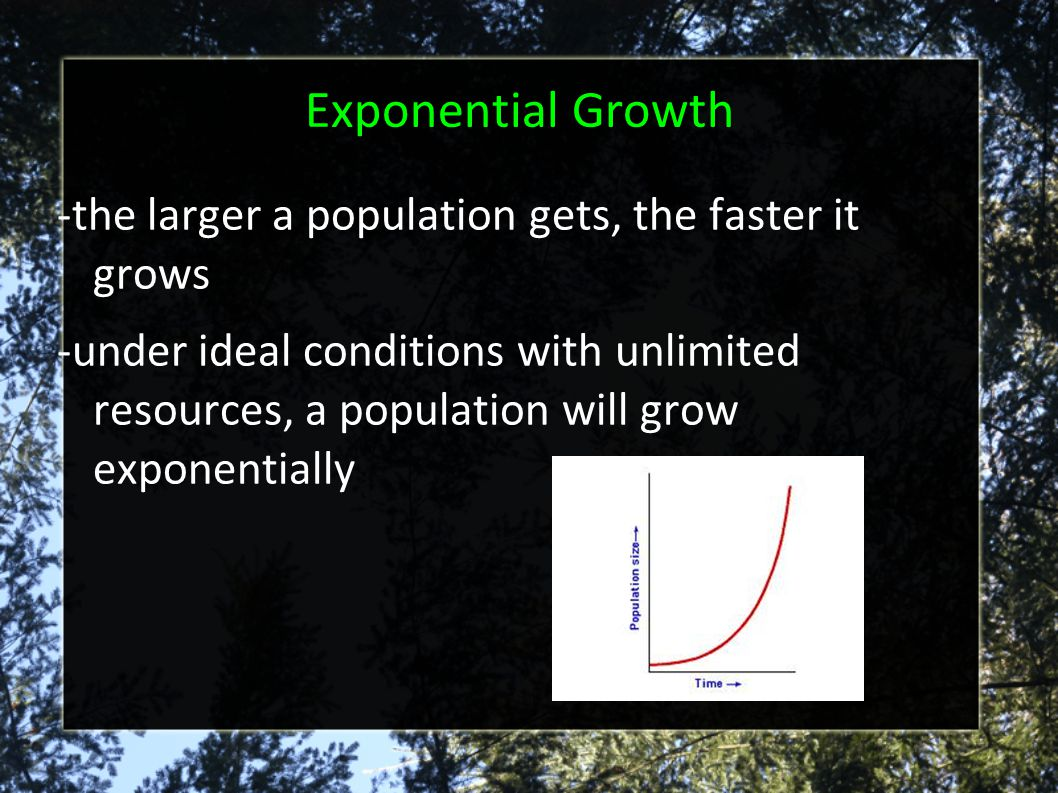 Exponential Growth -the larger a population gets, the faster it grows
