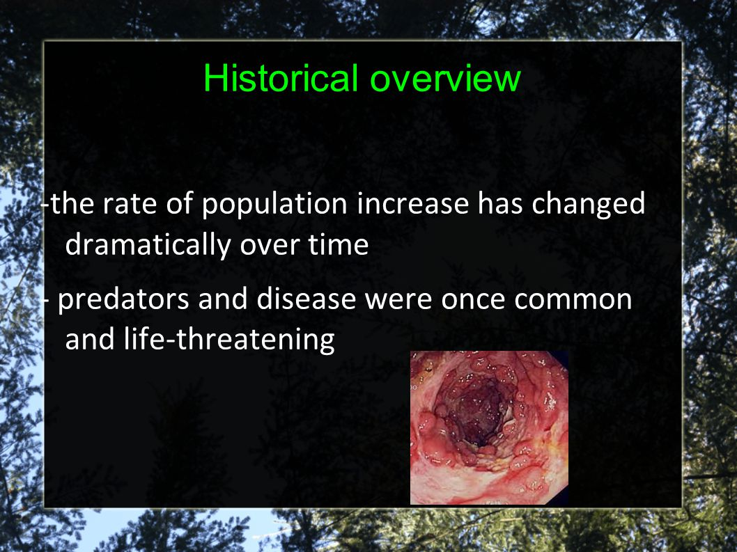 Historical overview -the rate of population increase has changed dramatically over time.