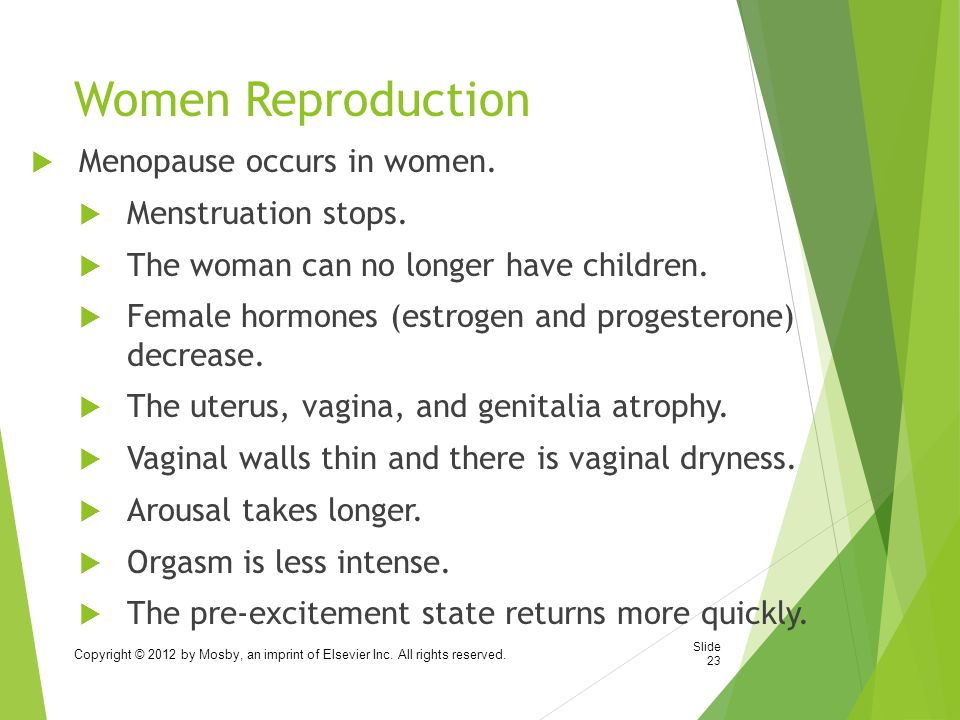 Women Reproduction Menopause occurs in women. Menstruation stops.