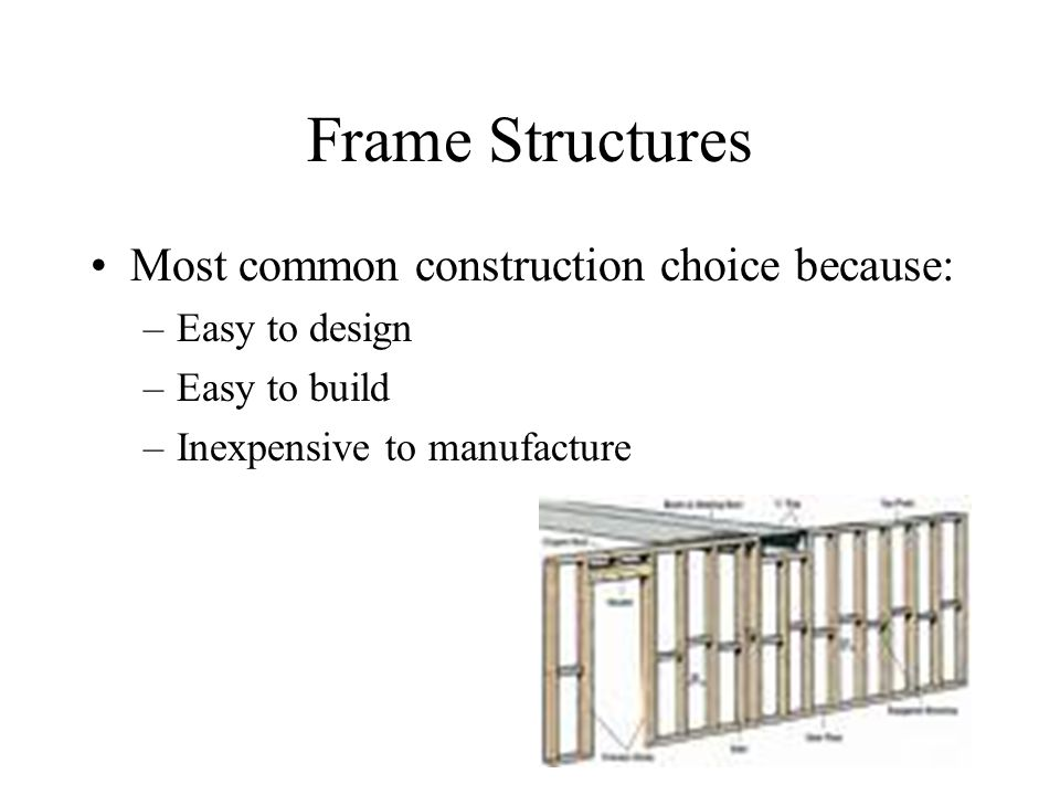 Frame Structures Most common construction choice because: