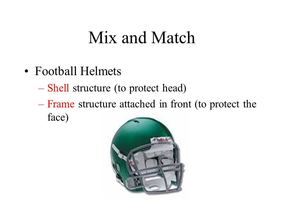 Mix and Match Football Helmets Shell structure (to protect head)