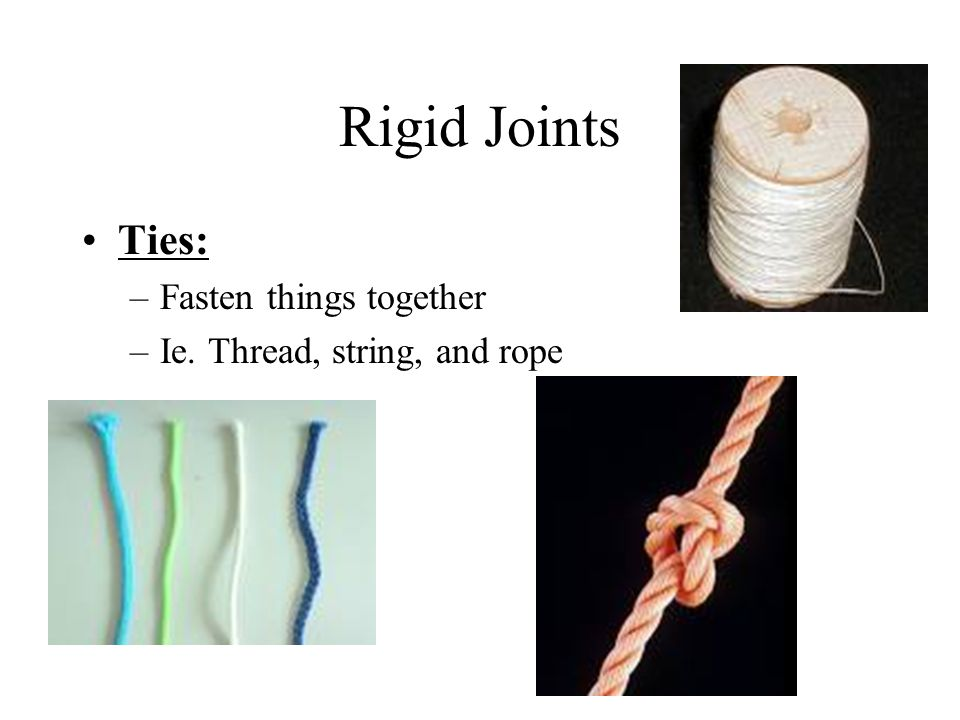 Rigid Joints Ties: Fasten things together Ie. Thread, string, and rope