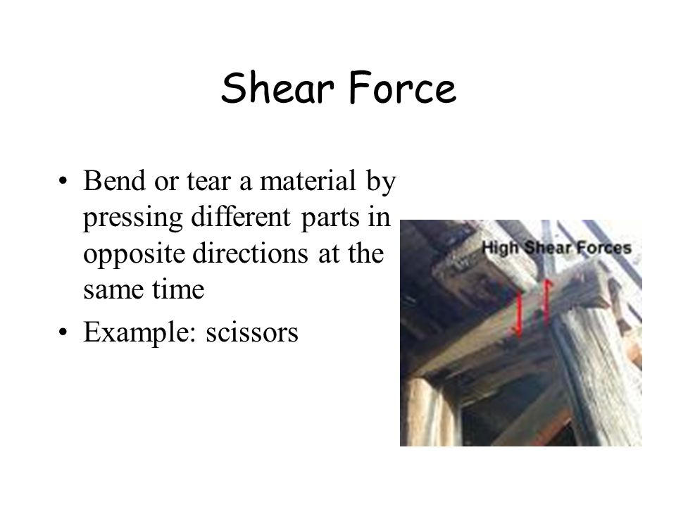 Shear Force Bend or tear a material by pressing different parts in opposite directions at the same time.