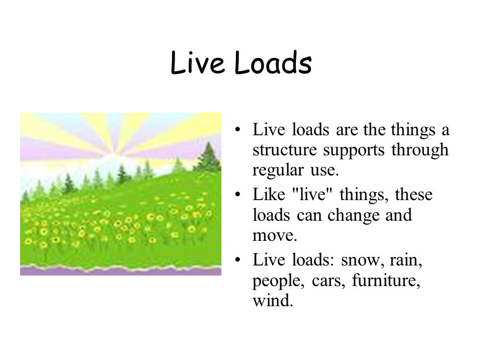 Live Loads Live loads are the things a structure supports through regular use. Like live things, these loads can change and move.