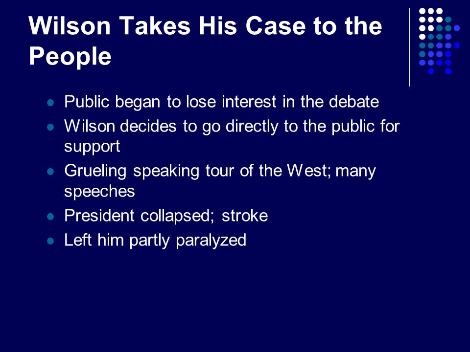 Wilson Takes His Case to the People