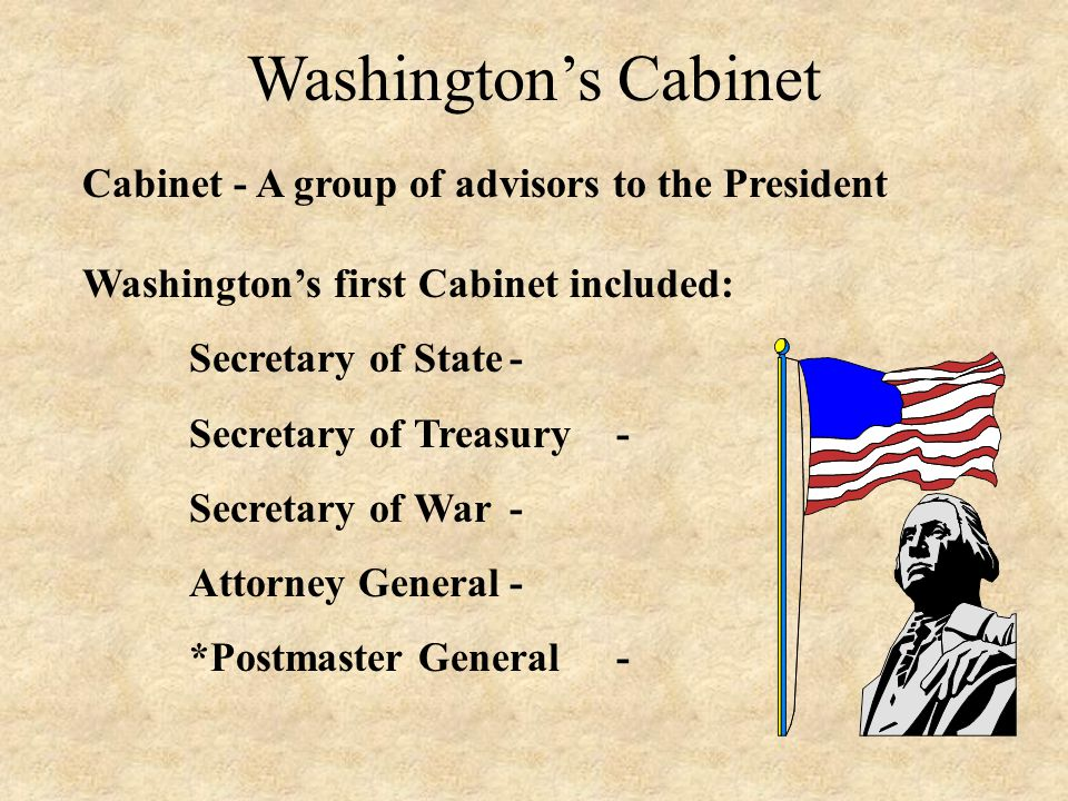 Washington's Cabinet Cabinet - A group of advisors to the President