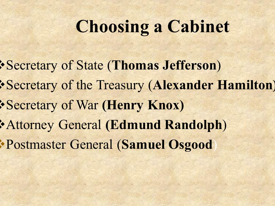 Choosing a Cabinet Secretary of State (Thomas Jefferson)
