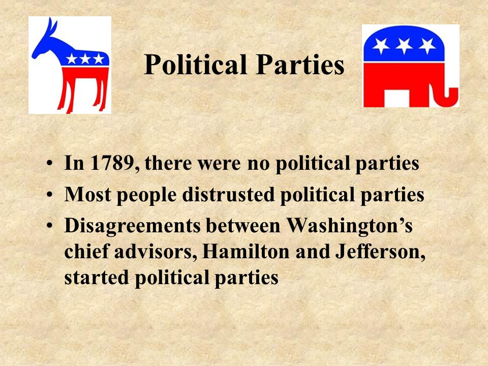 Political Parties In 1789, there were no political parties