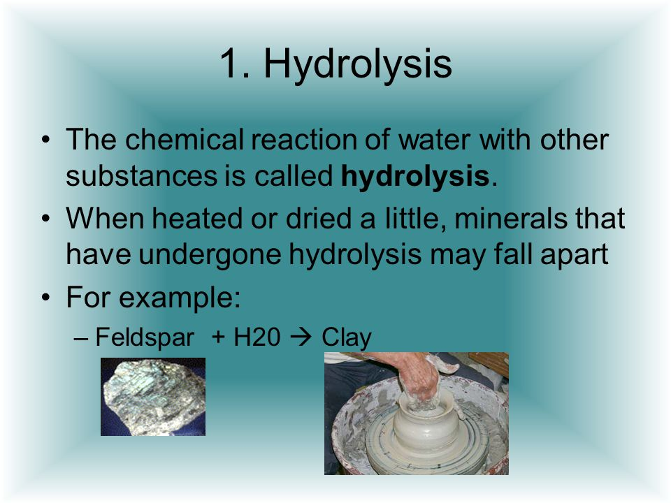 1. Hydrolysis The chemical reaction of water with other substances is called hydrolysis.