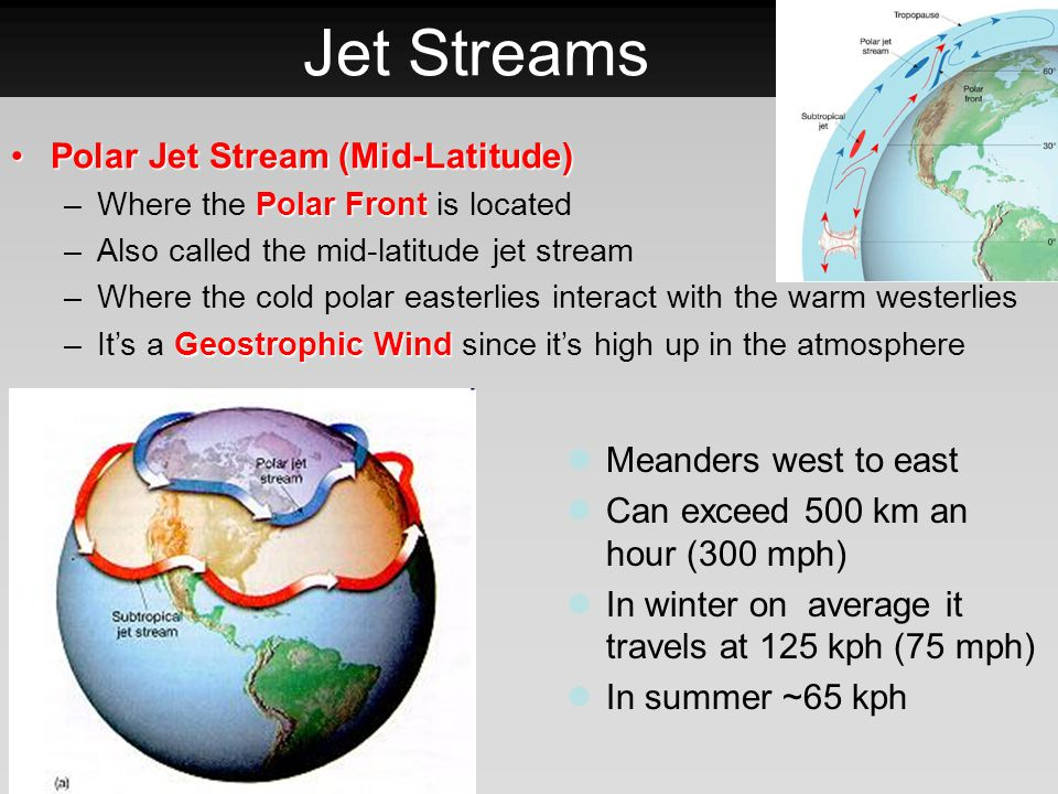 Jet Streams Polar Jet Stream (Mid-Latitude) Meanders west to east
