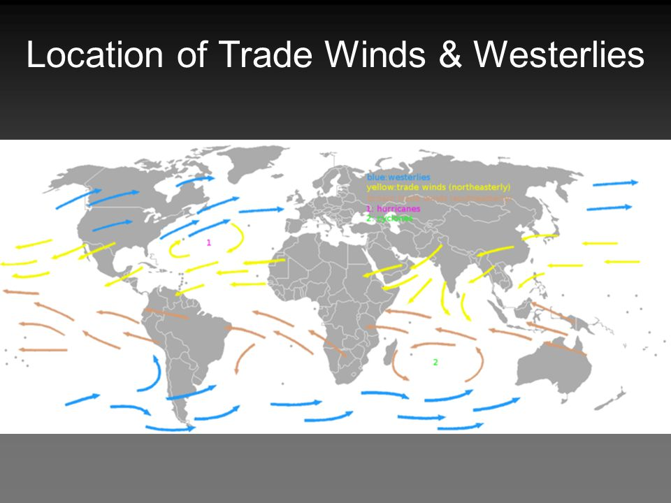 Location of Trade Winds & Westerlies