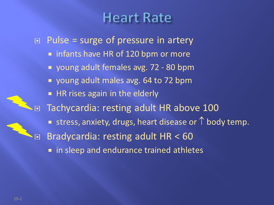 Heart Rate Pulse = surge of pressure in artery