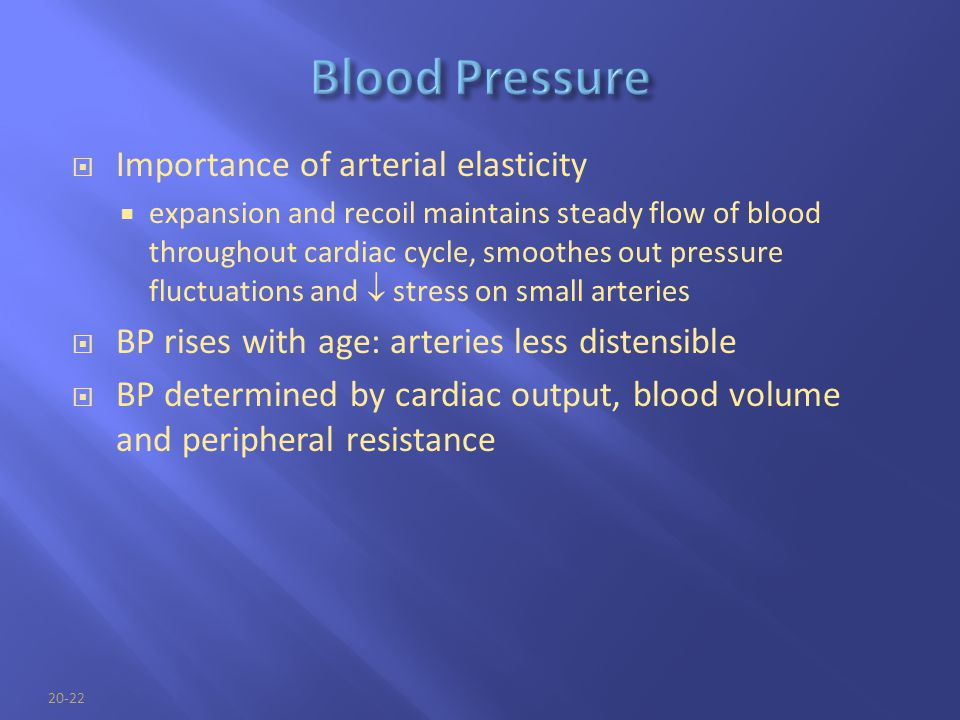Blood Pressure Importance of arterial elasticity