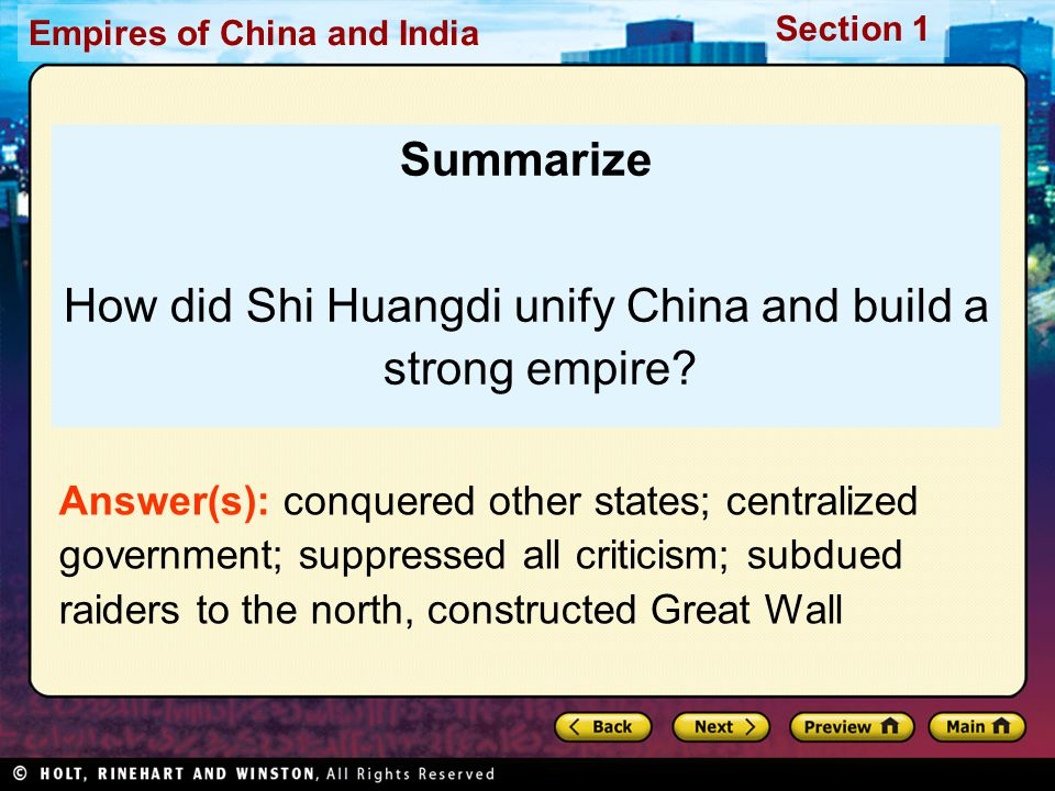 How did Shi Huangdi unify China and build a strong empire